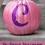 Easy No-Carve Monogram Glitter Pumpkin