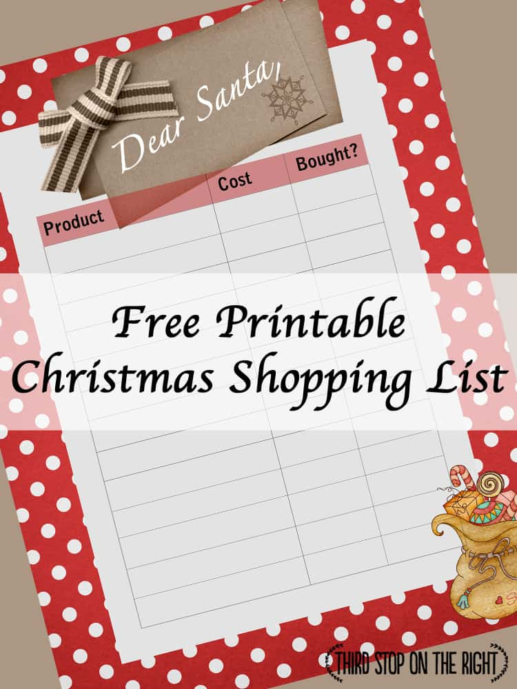 photo about Printable Christmas Shopping List named Preserve Keep track of of Xmas Searching with this Totally free Printable