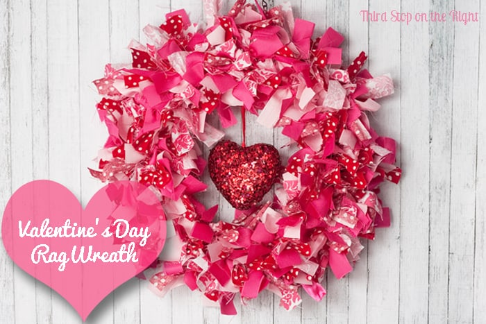 Valentine's Day Fabric Rag Wreath Tutorial