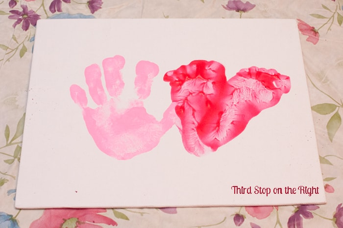 Handprint and Footprint Valentine's Day Picture
