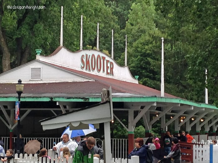 The Skooter was added to the park in 1931. The building is ornately decorated with spires and flags and included 20 electrically operated bumper cars. The bumper cars are still housed in this building.