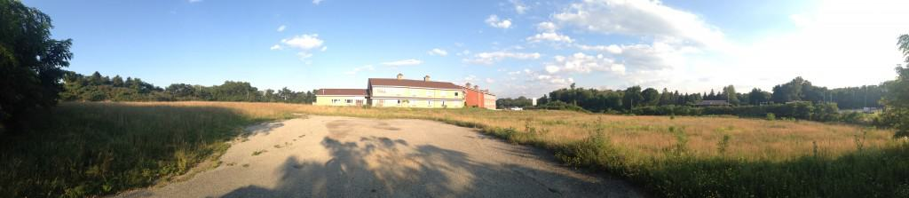 This is a panorama looking at the back section of the Inn at Mountain View. It was taken standing where the inground pool used to be.