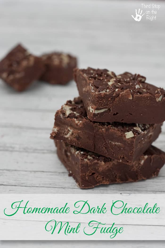 4 Ingredient Homemade Dark Chocolate Mint Fudge- Third Stop on the Right