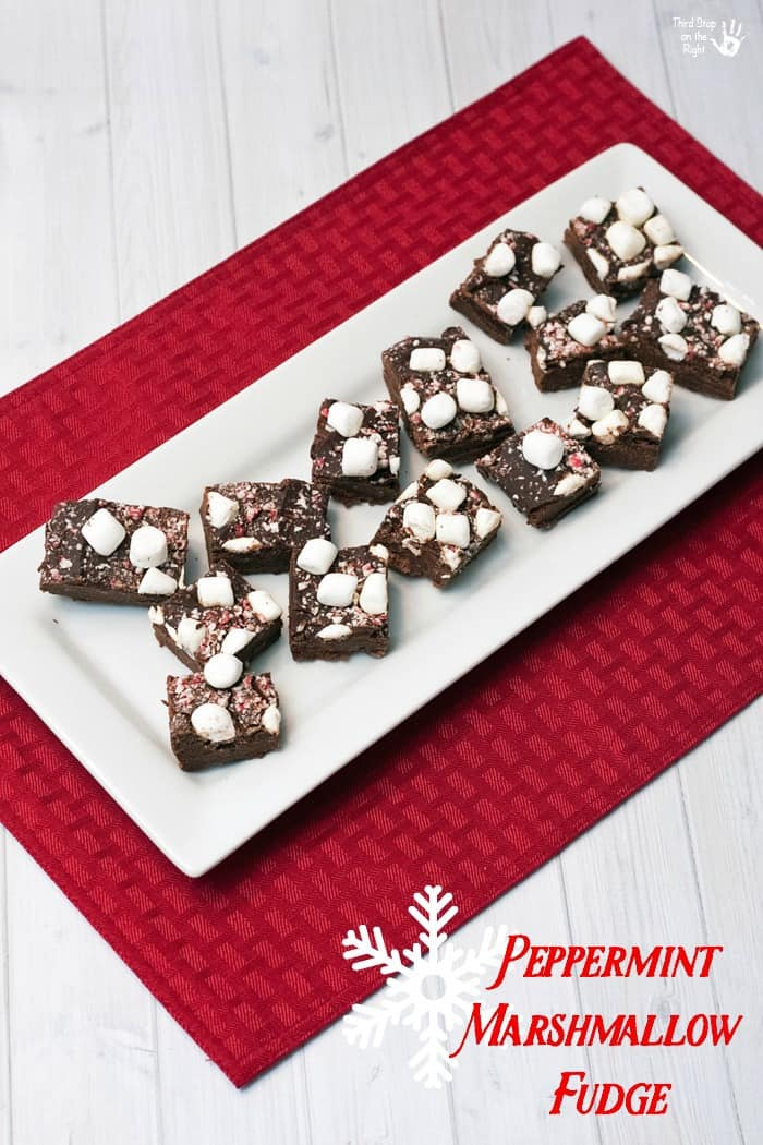 Marshmallow Peppermint Fudge on Plate