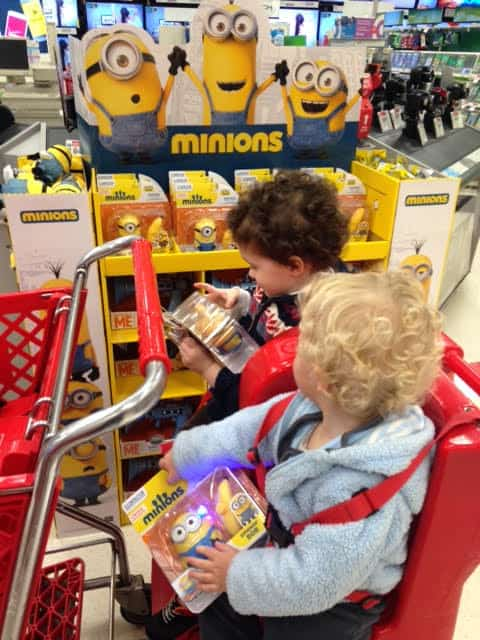 Boys Shopping for Minion Toys