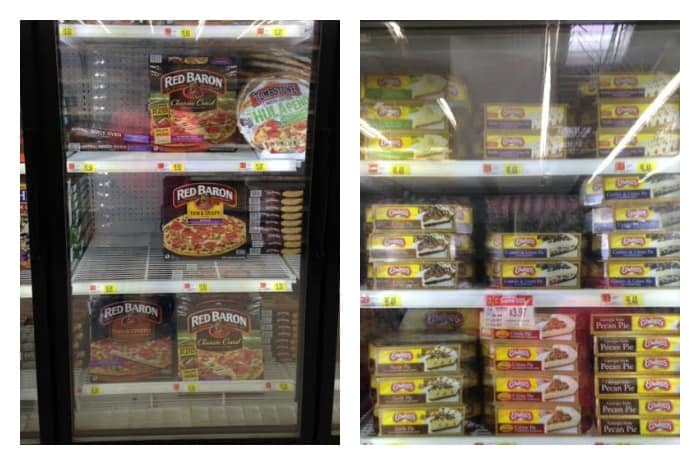 Red Baron Pizzas and Edwards frozen pies at Walmart.