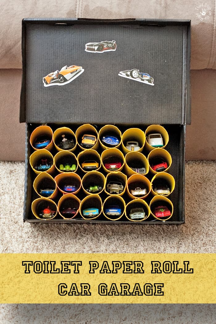 Toilet Paper Roll Toy Car Garage