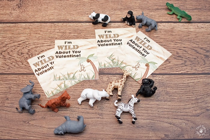 Valentine's Day Cards and small plastic zoo animals