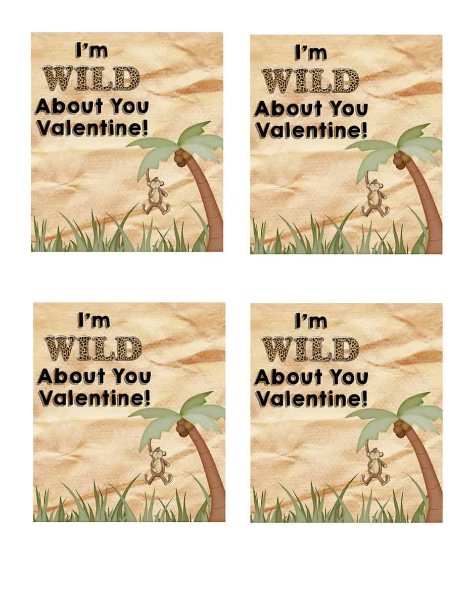 Wild About You Printable Valentine's Day Card