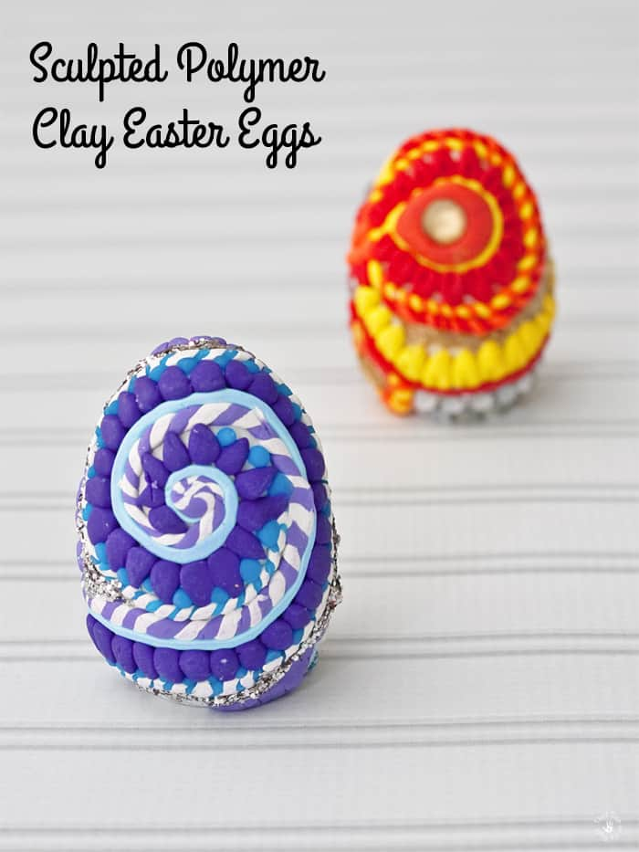 Finished Sculpted Polymer Clay Easter Eggs