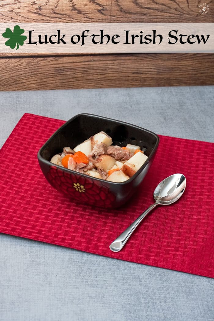 Bowl of Irish Stew sitting on a red placemat on a grey table.