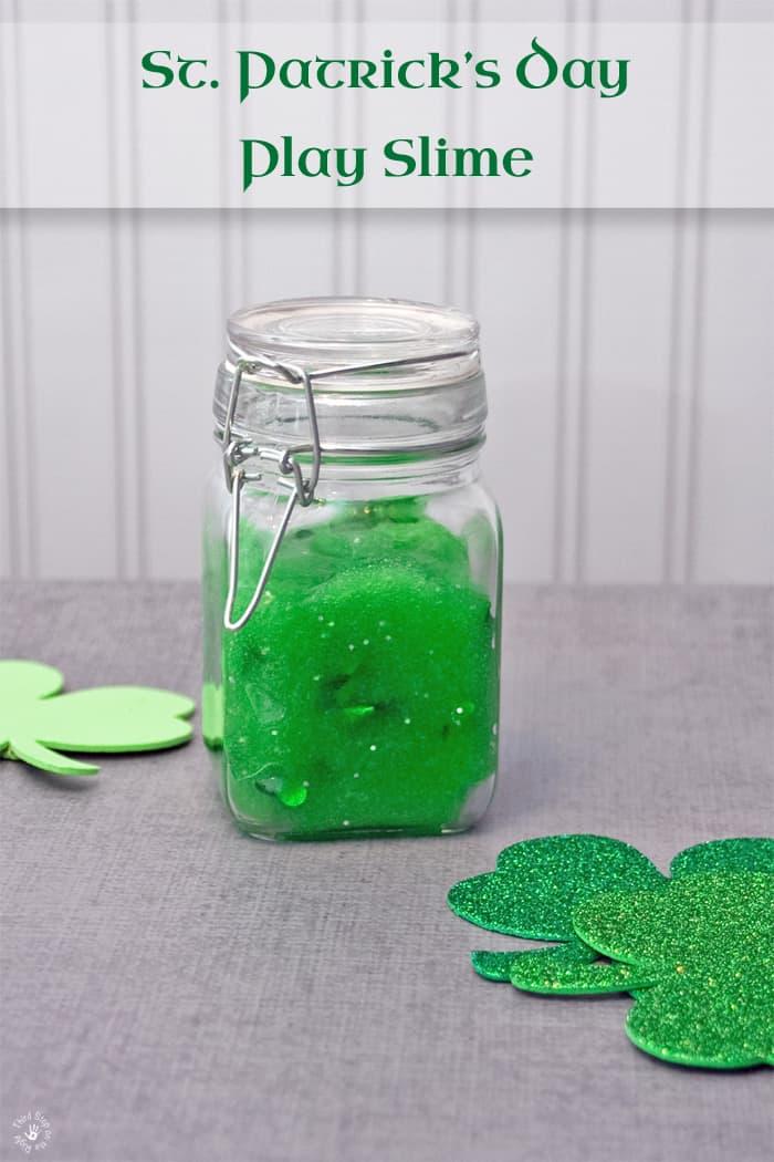 Green Play Slime with Glitter Shamrocks and Glitter