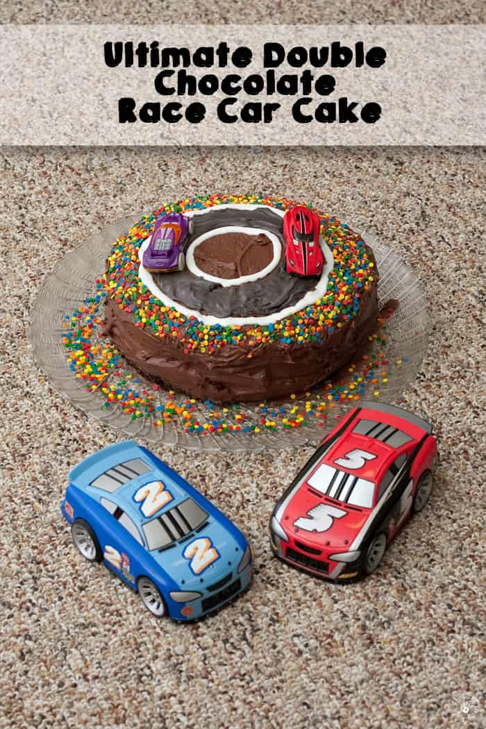 Race Car Cake with Two Toy Race Cars