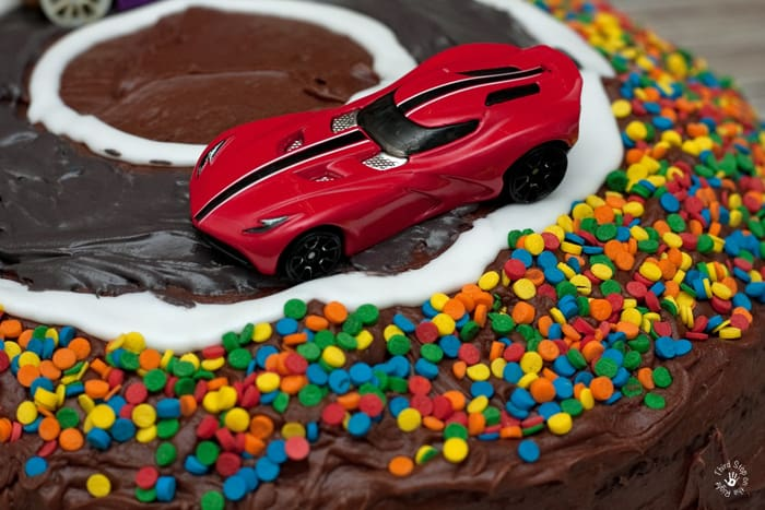 Red Race Car on Cake