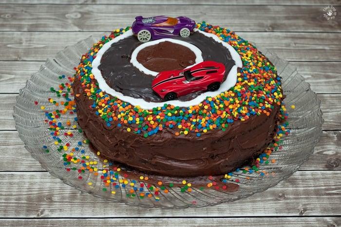 Cars decorating Race Car Cake