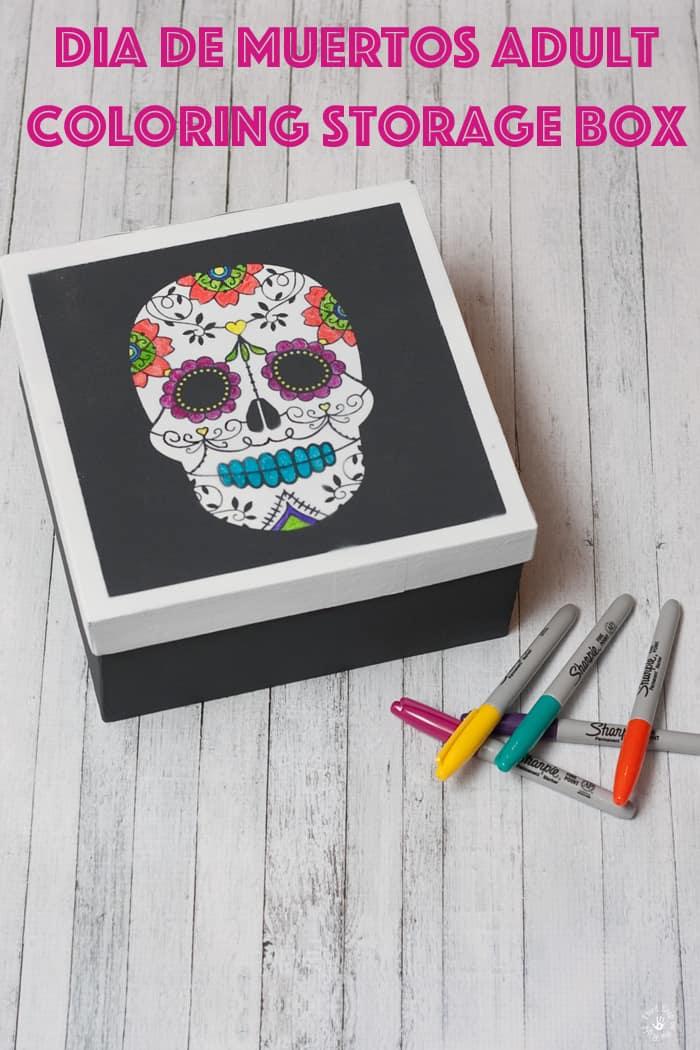 Adult Coloring Finished Dia De Muertos Storage Box