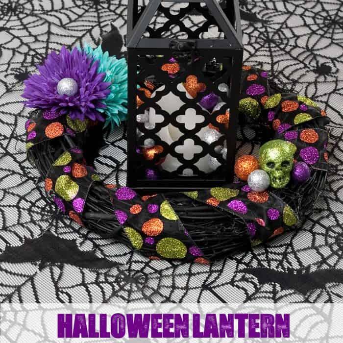 Halloween Lantern and Wreath Centerpiece