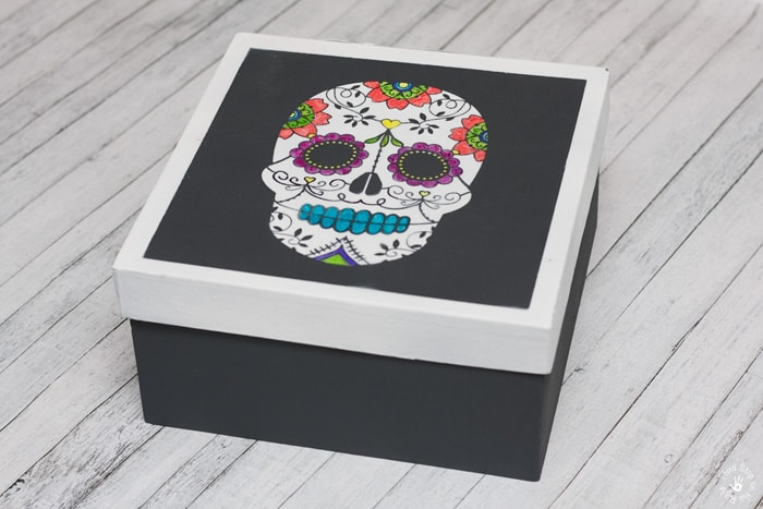 Completed and Colored Sugar Skull on Storage Box