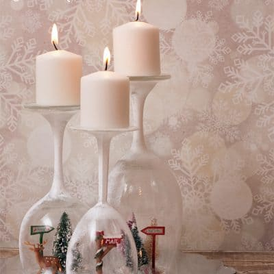 Winter Candle Wine Glass Centerpiece