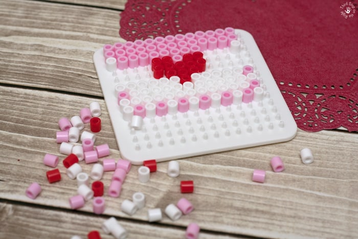 Melty Beads on Peg Tray to Make Valentine's Day Envelope