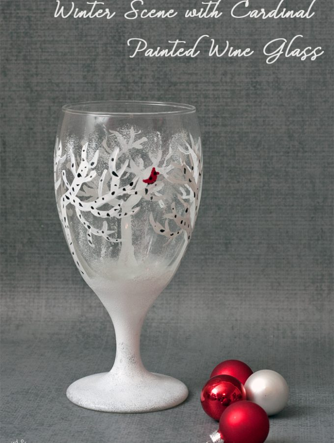 Winter Scene With Cardinal Painted Wine Glass