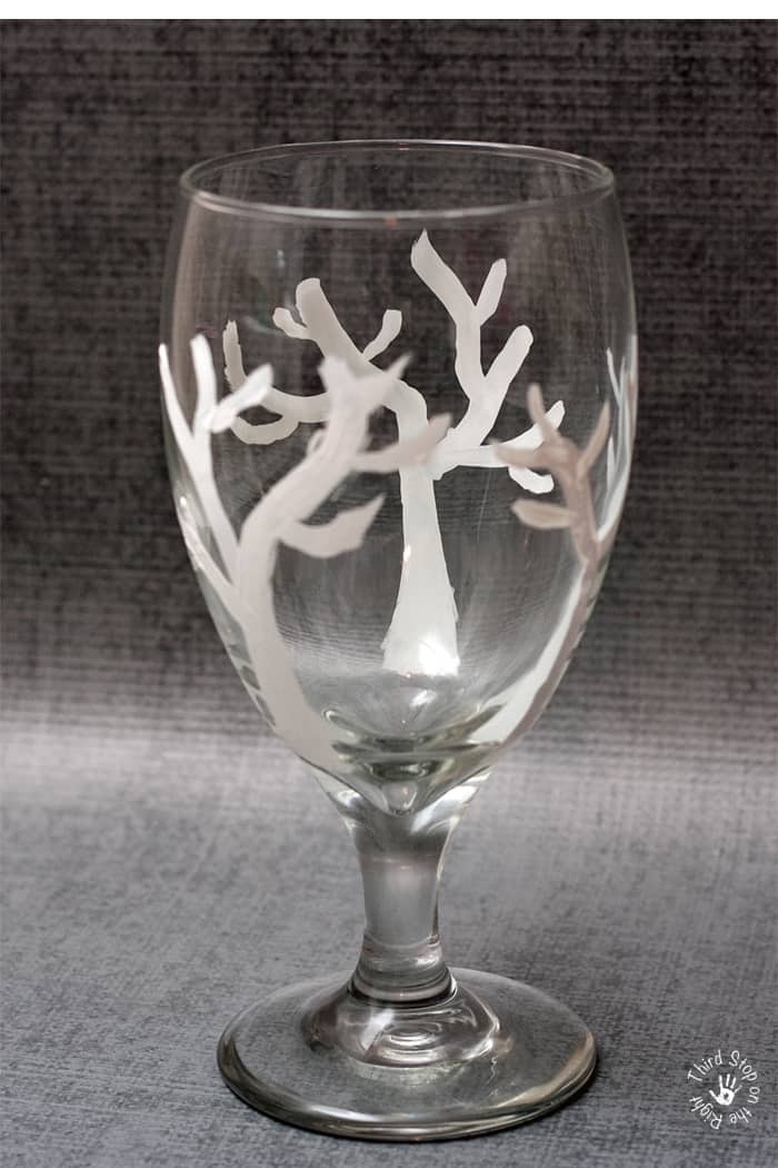 White Tree Trunk and base branches painted on wine glass