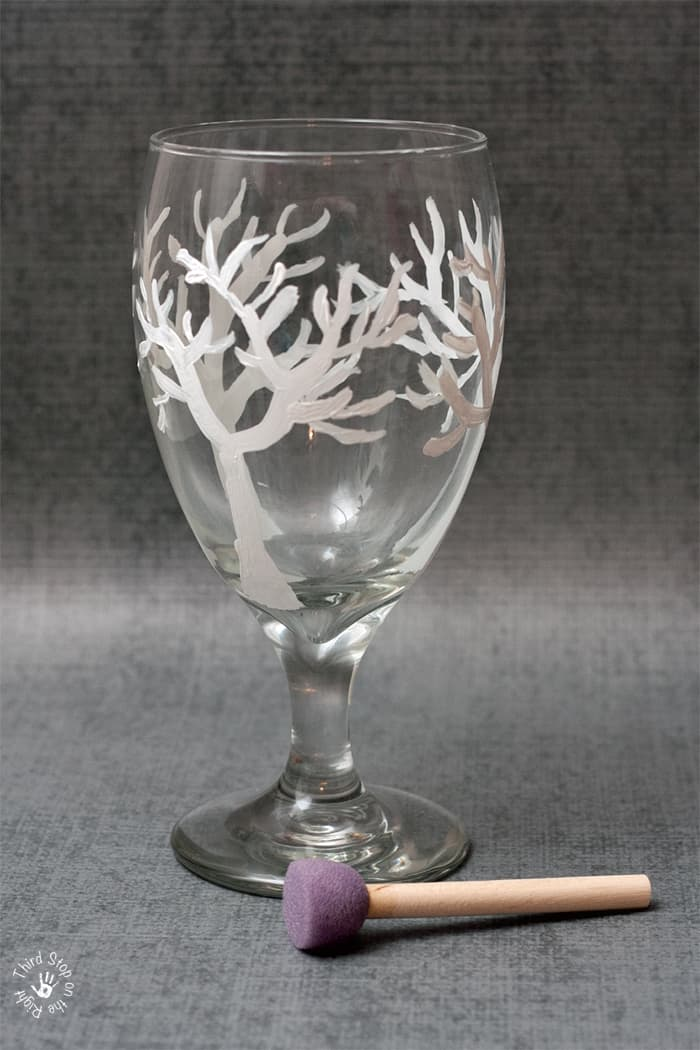 Wine glass with sponge brush for painting