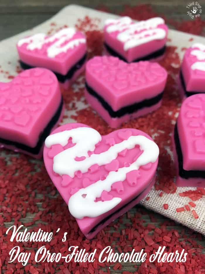 Valentine\'s Day Oreo-Filled Chocolate Hearts| Third Stop on the Right