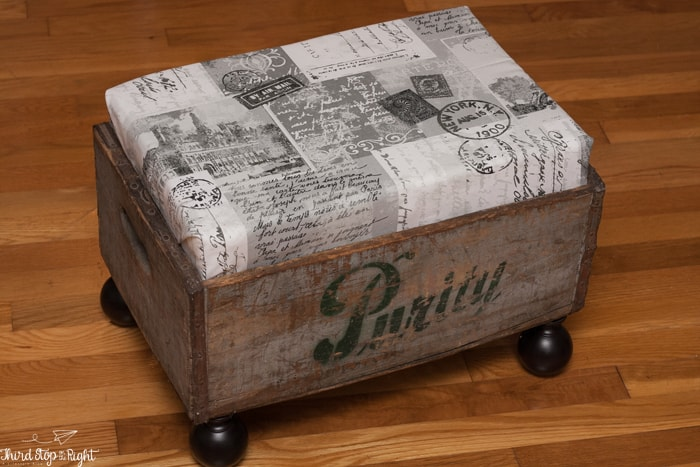 How I Repurposed A Vintage Milk Crate Into An Ottoman