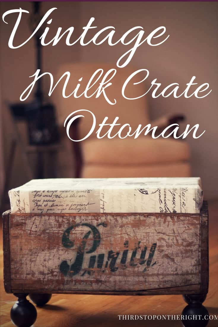 Create a unique and one-of-a-kind ottoman using a vintage milk crate.