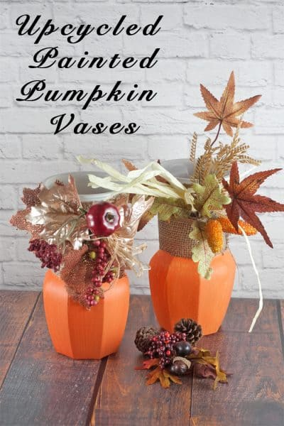 Thrift Store Upcycled Painted Vase Pumpkins