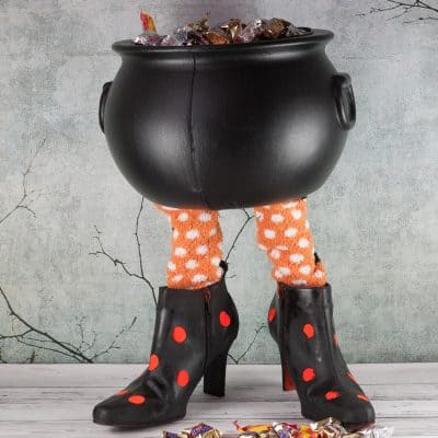 Making a Witch's Feet Candy Bucket