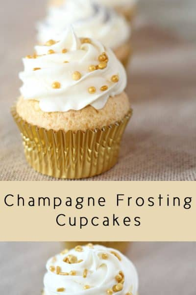 New Year's Eve Champagne Frosted Cupcakes