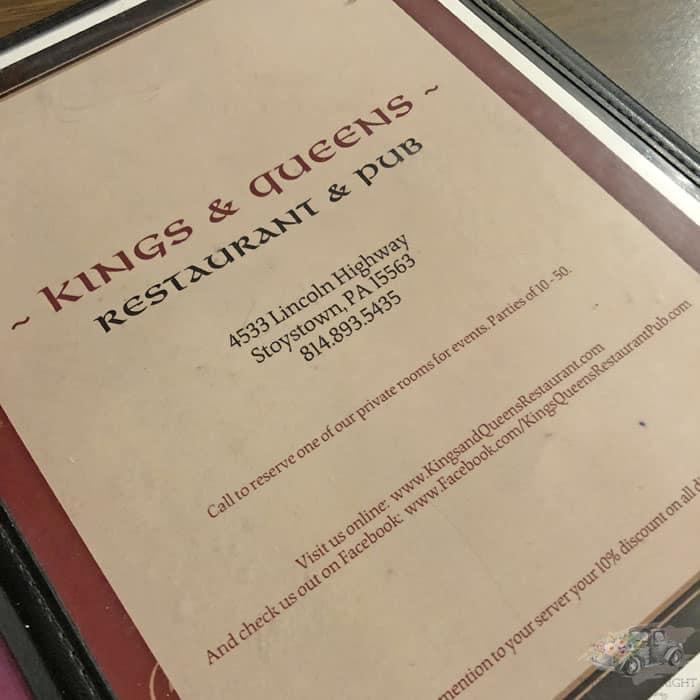 Kings & Queens Restaurant Menu