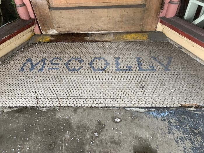 Tile on the front porch of the McColly building