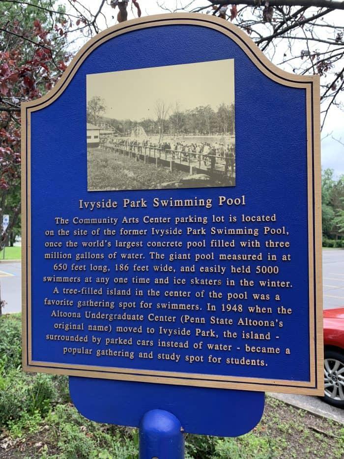 Historical Marker at Ivyside Park Penn State Altoona