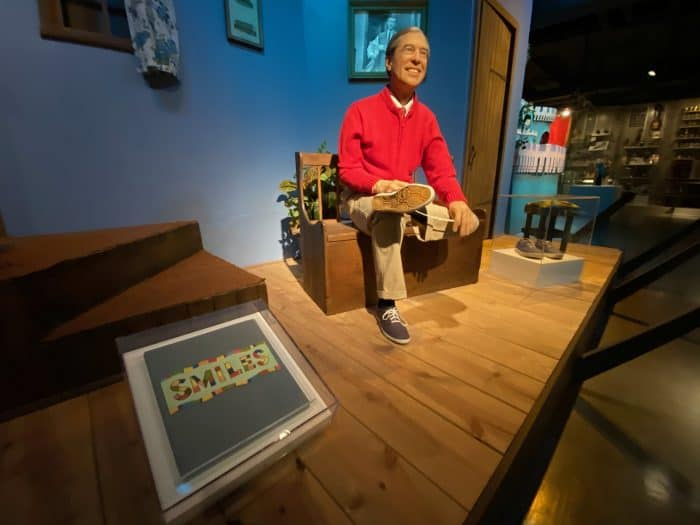 Mr. Rogers changes his shoes as he does at the beginning of each episode in this display at the Heinz History Center.