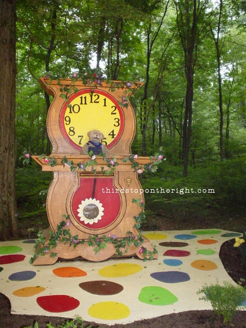 Daniel Tiger lives in a clock and is a shy tiger in the Neighborhood of Make Believe