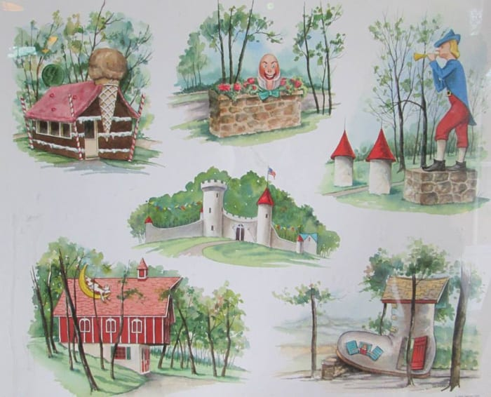 A drawing of some of the structures at Storyland
