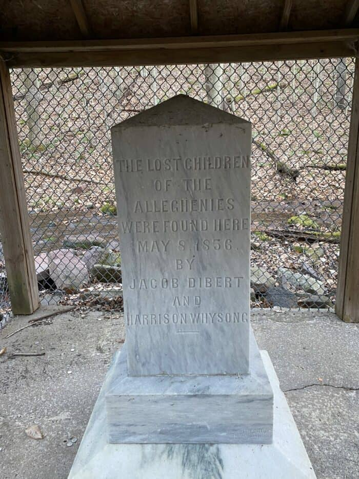 Inscription on the Lost Children of the Alleghenies Monument